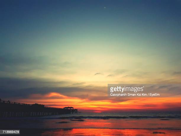 scenic view of sea against sky during sunset - ksi stock photos and pictures