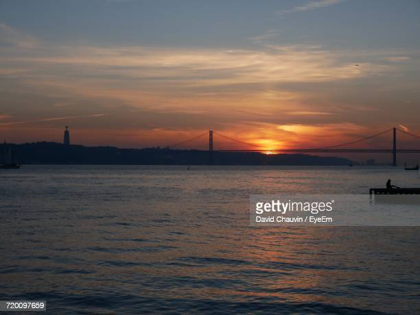 scenic view of sea against sky during sunset - chauvin stock pictures, royalty-free photos & images