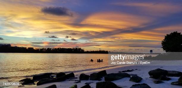 scenic view of sea against sky during sunset - siesta key bildbanksfoton och bilder