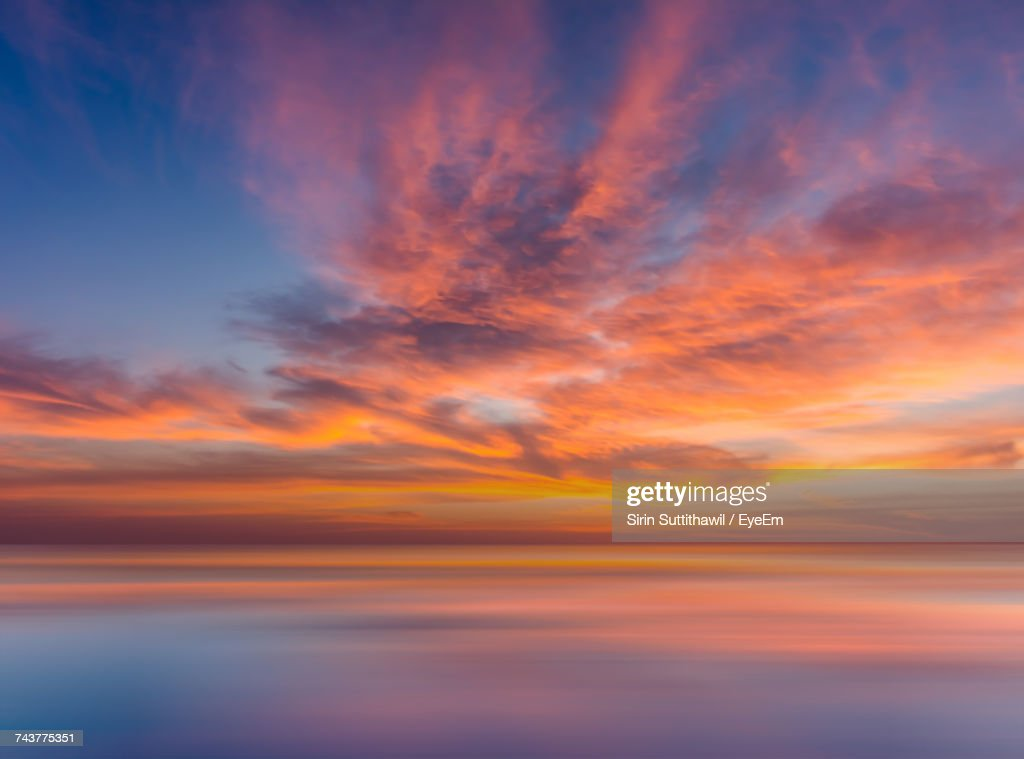 Scenic View Of Sea Against Sky During Sunset : Foto de stock