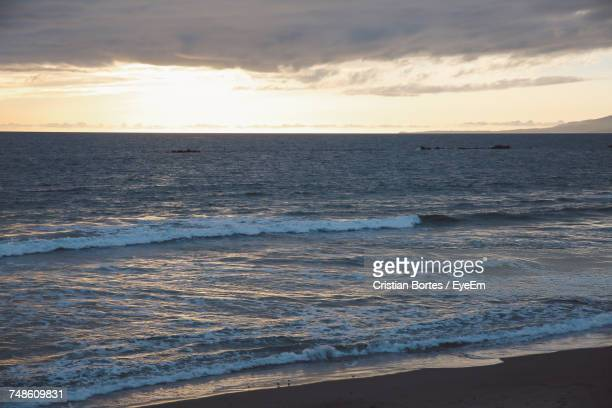 scenic view of sea against sky during sunset - bortes stock photos and pictures
