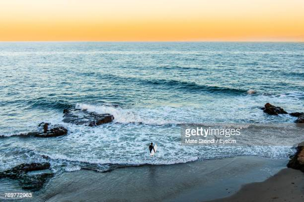 scenic view of sea against sky during sunset - santa barbara stock photos and pictures