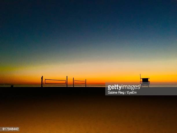 scenic view of sea against sky during sunset - hermosa beach stock pictures, royalty-free photos & images