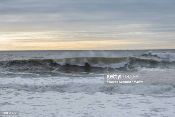 scenic view of sea against sky during sunset - nazar stock photos and pictures