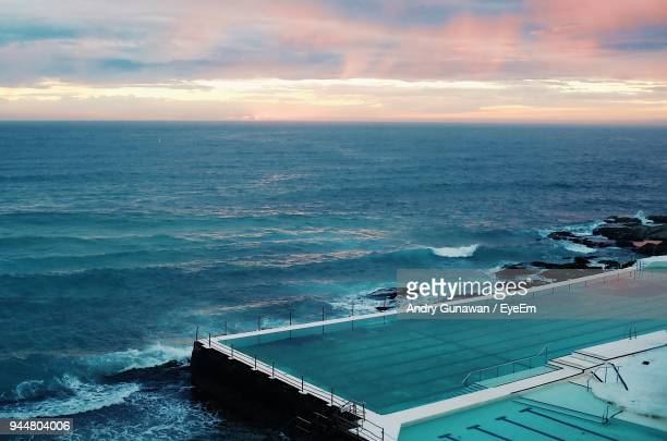scenic view of sea against sky during sunset - bondi beach stock pictures, royalty-free photos & images