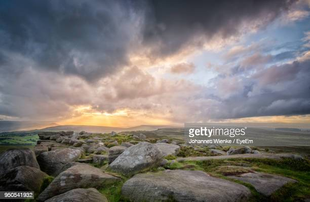 scenic view of sea against sky during sunset - storm cloud stock pictures, royalty-free photos & images