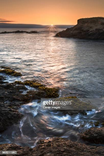 scenic view of sea against sky during sunset - fort bragg stock pictures, royalty-free photos & images