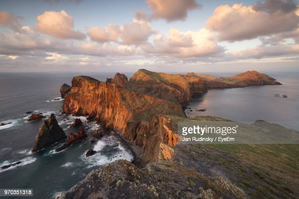 scenic view of sea against sky during sunset - madeira island stock photos and pictures