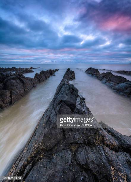 scenic view of sea against sky during sunset,dublin,ireland - leinster province stock pictures, royalty-free photos & images