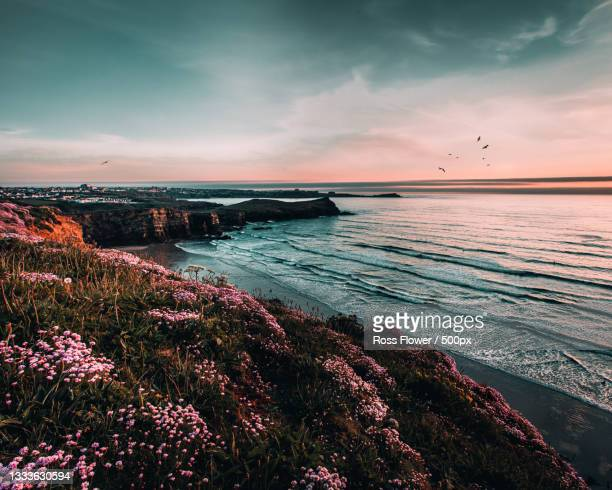 scenic view of sea against sky during sunset,newquay,united kingdom,uk - newquay stock pictures, royalty-free photos & images