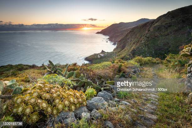 scenic view of sea against sky during sunset,spanien,spain - spanien foto e immagini stock