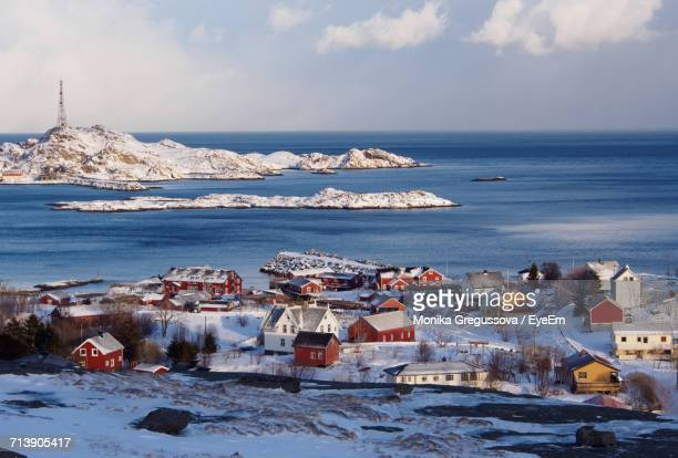 scenic view of sea against sky during winter - monika gregussova stock pictures, royalty-free photos & images