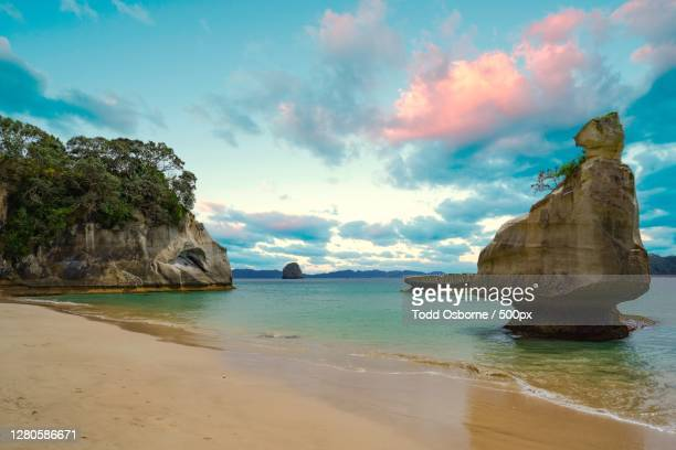 scenic view of sea against sky, hahei, new zealand - images stock pictures, royalty-free photos & images