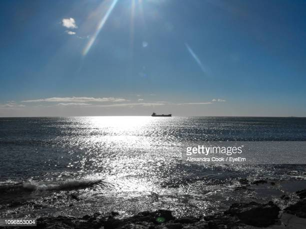 Scenic View Of Sea Against Sky On Sunny Day
