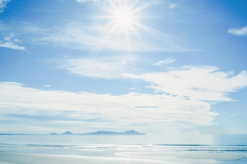 Scenic View Of Sea Against Sky On Sunny Day - gettyimageskorea