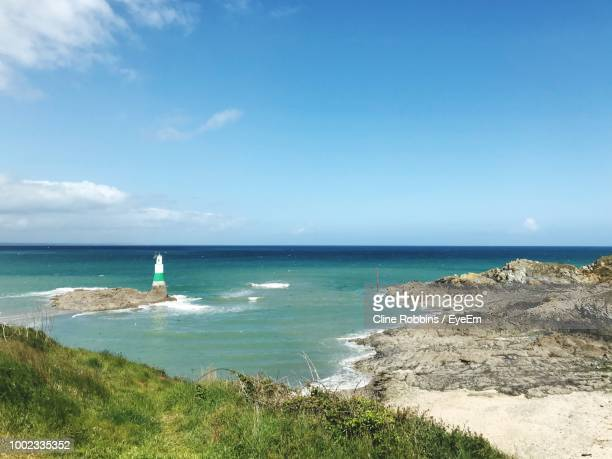 scenic view of sea against sky - cotes d'armor stock photos and pictures