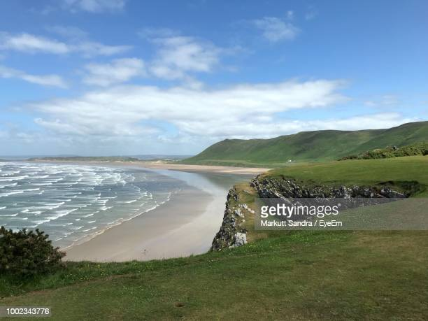 scenic view of sea against sky - south wales stock pictures, royalty-free photos & images