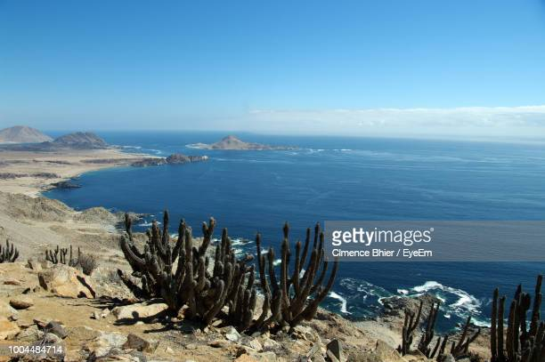 scenic view of sea against sky - caldera stock pictures, royalty-free photos & images