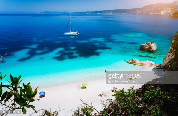scenic view of sea against sky - greek islands stock pictures, royalty-free photos & images