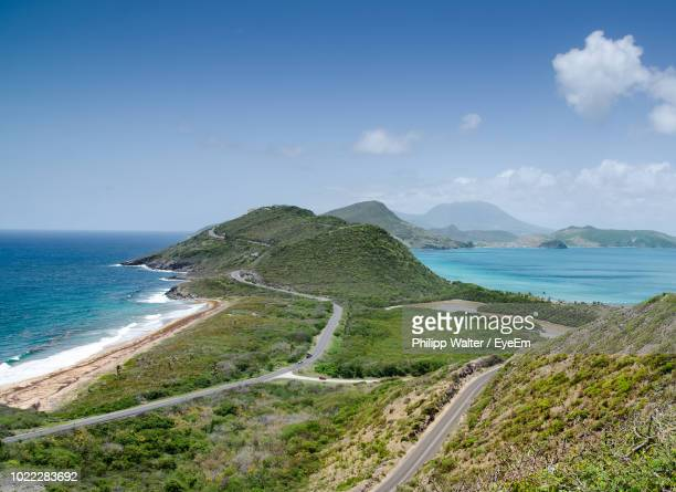 scenic view of sea against sky - st. kitts stock photos and pictures