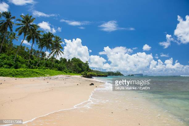 scenic view of sea against sky - samoa stock pictures, royalty-free photos & images