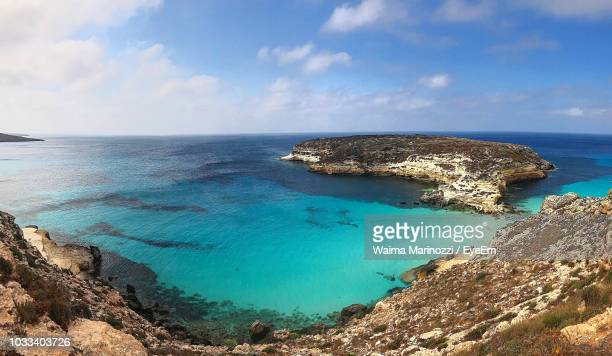 scenic view of sea against sky - lampedusa stock pictures, royalty-free photos & images