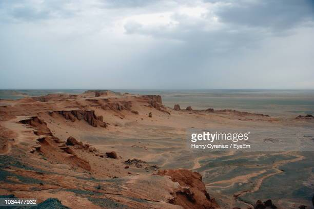 scenic view of sea against sky - gobi desert stock pictures, royalty-free photos & images