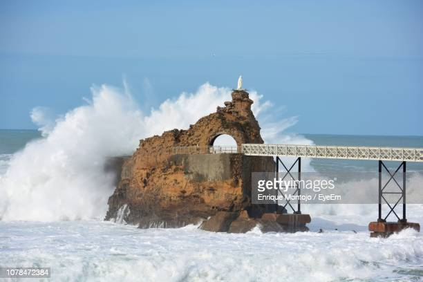 scenic view of sea against sky - biarritz stock pictures, royalty-free photos & images