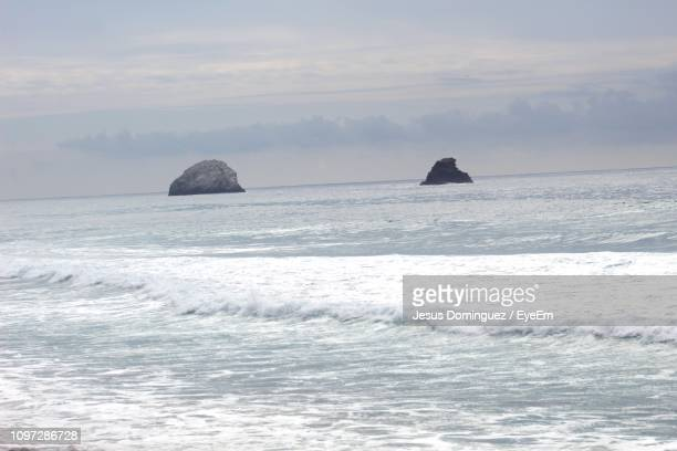 scenic view of sea against sky - jesus calming the storm stock pictures, royalty-free photos & images