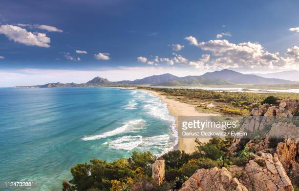 scenic view of sea against sky - sardinia stock pictures, royalty-free photos & images
