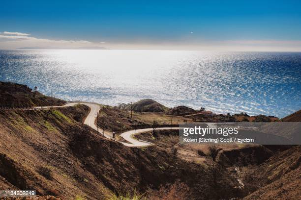 scenic view of sea against sky - malibu stock pictures, royalty-free photos & images