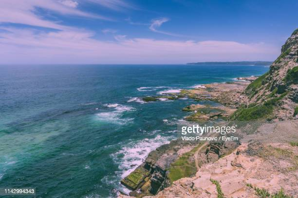 scenic view of sea against sky - newcastle new south wales stock pictures, royalty-free photos & images