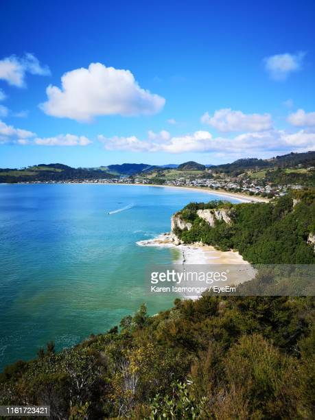 scenic view of sea against sky - north island new zealand stock pictures, royalty-free photos & images