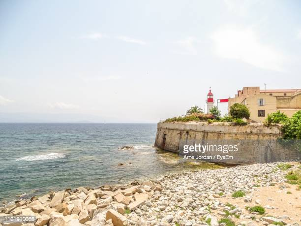 scenic view of sea against sky - ajaccio stock photos and pictures