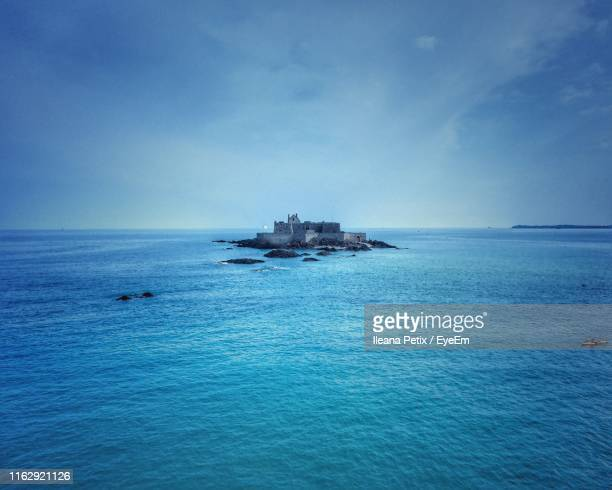 scenic view of sea against sky - province of caltanissetta stock photos and pictures