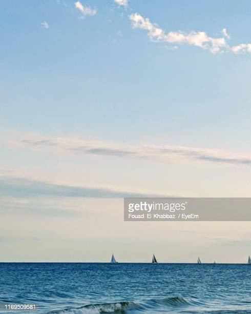 scenic view of sea against sky - fouad el-khabbaz stock pictures, royalty-free photos & images