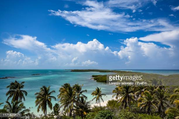 scenic view of sea against sky - isla mujeres stock pictures, royalty-free photos & images
