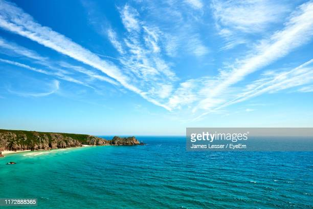 scenic view of sea against sky - penzance stock pictures, royalty-free photos & images