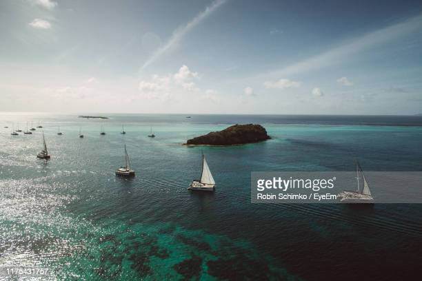 scenic view of sea against sky - west indies stock pictures, royalty-free photos & images
