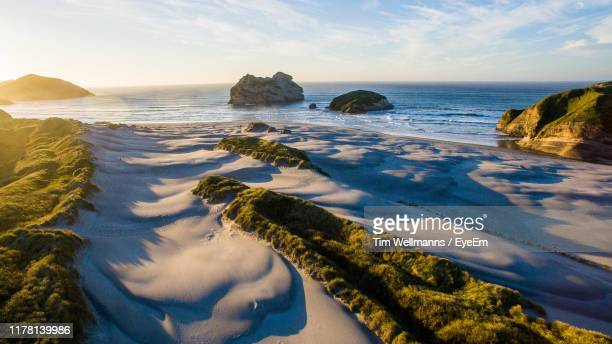 scenic view of sea against sky - marlborough new zealand stock pictures, royalty-free photos & images