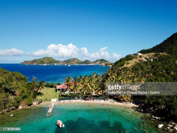 scenic view of sea against sky - guadeloupe photos et images de collection