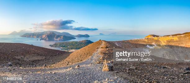 scenic view of sea against sky - aeolian islands stock pictures, royalty-free photos & images