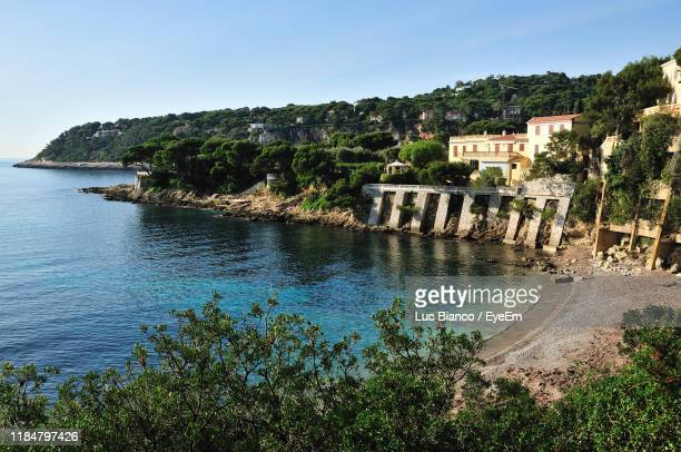 scenic view of sea against sky - saint jean cap ferrat stock pictures, royalty-free photos & images
