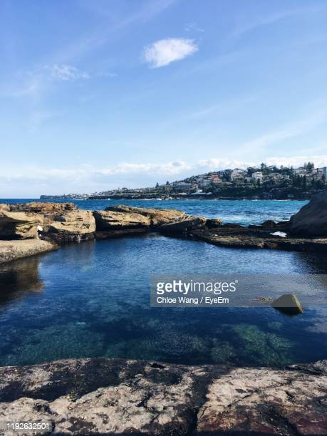 scenic view of sea against sky - wang he stock pictures, royalty-free photos & images