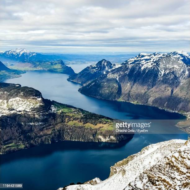 scenic view of sea against sky - schwyz stock pictures, royalty-free photos & images