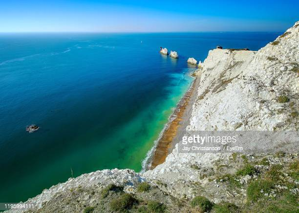 scenic view of sea against sky - isle of wight stock pictures, royalty-free photos & images