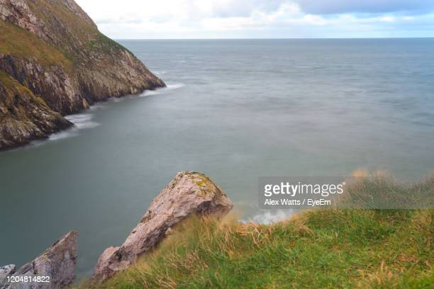 scenic view of sea against sky - llandudno wales stock pictures, royalty-free photos & images