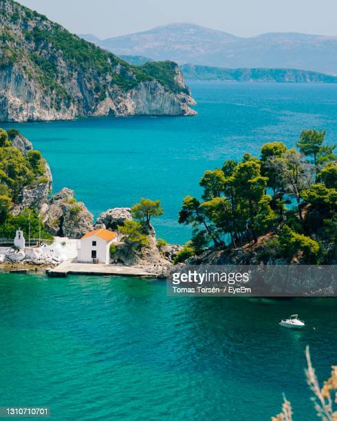 scenic view of sea against sky - tourist resort stock pictures, royalty-free photos & images