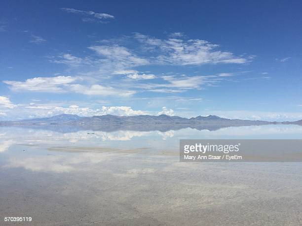 scenic view of sea against sky - bonneville salt flats stock pictures, royalty-free photos & images