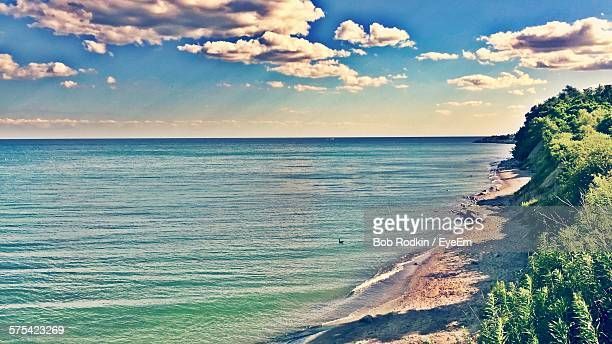 scenic view of sea against sky - lake ontario stock pictures, royalty-free photos & images